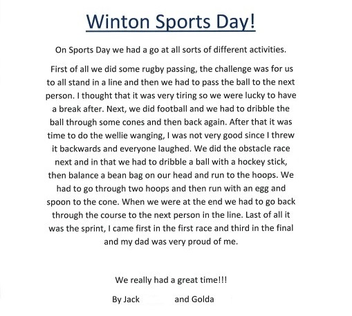 how to write a report on sports day